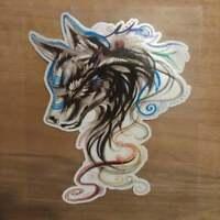 Wolf Aufkleber Sticker Tribal bunt Hund Tier Tiere Fuchs Indianer Liebe Schweif