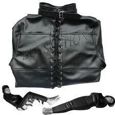 Black Leather Unisex Full Body Suit Jacket Gimp Sleep Sack Straight Restraints