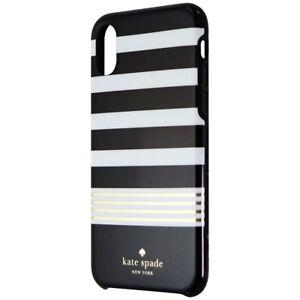 Kate Spade Hardshell Case for Apple iPhone Xs/X - Black/White/Gold Stripe