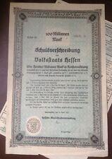 Germany 1923 Treasury 100 Millionen Million Mark RARE Breaker Bond Darmstadt