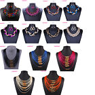 Fashion Women Bib Flower Crystal Pendant Statement Chain Chunky Choker Necklace