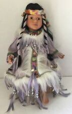 """Cathay Collection Native American Indian Porcelain doll, 16"""" w/COA"""