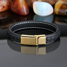 Black Braided Genuine Leather Gold Stainless Steel men's Chain Bracelet 12mm
