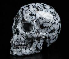 "2.0"" SNOWFLAKE OBSIDIAN Carved Crystal Skull, Realistic, Crystal Healing"