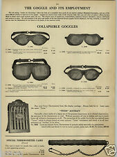 1913 PAPER AD Car Automobile Miners' Collapsible Goggles Leather Aluminum
