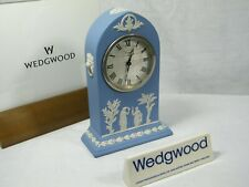 "Wedgwood "" Cathedral "" Jasper Ware Clock in Blue with Swiss movement Superb !!!"