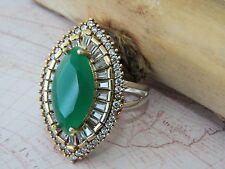 Turco otomano Vintage de 925 Sterling Silver Anillo para mujer sultán piedras preciosas esmeralda