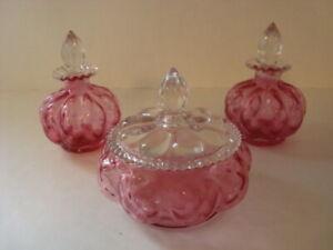 Vintage Fenton Cranberry 3 Piece Vanity Set, Powder Jar and 2 Small Perfume