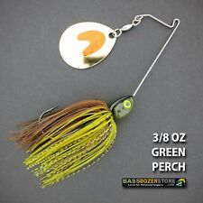 Bassdozer spinnerbaits SHORT ARM THUMPER 3/8 oz GREEN PERCH spinner bait lures