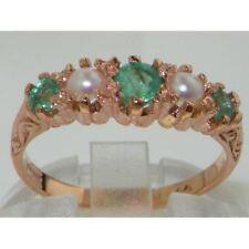 Luxury 14K Rose Gold Ladies Vintage Style Emerald & Pearl Eternity Ring
