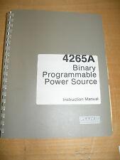 Fluke 4265A: Binary Programmable Power Source Instruction Manual w schematics