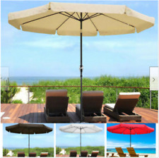 10ft Outdoor Patio Umbrella Aluminum Sun Shade Market Crank Tilt Valance Garden