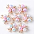 10Pcs Flower Rhinestone Pearl Buttons Hairpin Handwear DIY Making Accessories