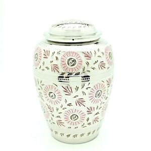 Pink & White Floral Adult Cremation Urn