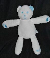 Peluche Doudou Ours Blanc Bleu MUSTELA Brodé MUSTI Teddy Bear 25 Cm TTBE