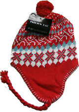 Ragazze Peru Peruviana INCA stile Fairisle Cappello Beanie Età: 8-12 - Rosso, Bianco & Blue