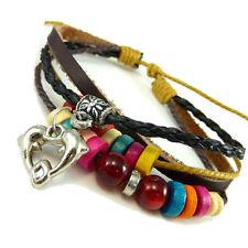 Markenlose Modeschmuck-Armbänder aus Leder mit Perlen (Imitation)