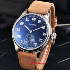 44mm parnis blue dial luminous mark 6498 hand winding mechanical mens watch P953