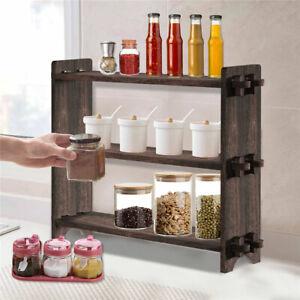 3 Tier Paulownia Wood Shelf Kithchen Bedroom Living Room Table Top Storage Shelf