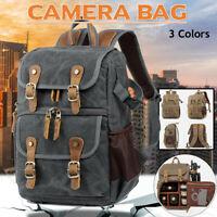 Waterproof DSLR SLR Canvas Camera Backpack Photo Travel Bag  Large Capacity New