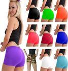 Women Girls Plain Microfiber Hot Pant Ladies Neon Color Stretch Gym Dance Shorts