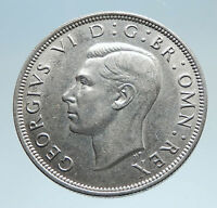 1941 Great Britain UK United Kingdom King George VI SILVER 1/2 Crown Coin i74967