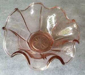 Lovely Vintage Rose  Glass Bowl Ruffled Rim