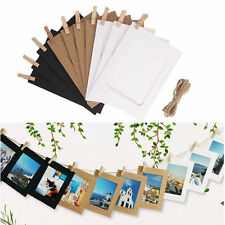 10Pcs 6Inch DIY Flim Hanging Wall Paper Photo Frame Album Rope Wood Clips Gift