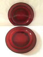 Set of 2  Vintage Arcoroc of France Ruby Red  Salad  Dessert Plates