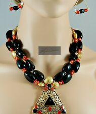 NEW! BOLD BLACK AGATE & RED CORAL TIBETAN STYLE STATMENT NECKLACE & EARRINGS 22""