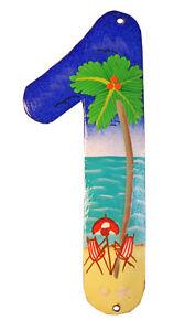 Tropical Beach House Numbers Haitian Metal Art Number 1
