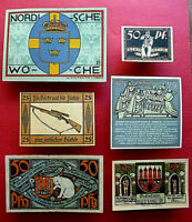 Lot of 6 Notgelds, early 1920's, Weimar Republic, Germany