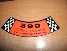 1965 1966 1967 FORD GALAXIE LTD XL CUSTOM 500 390 4V PREM FUEL AIR CLEANER DECAL