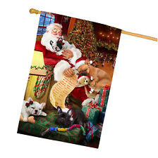French Bulldog Dog and Puppies Sleeping with Santa House Flag