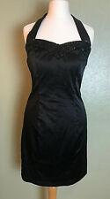 Sequin Sheen Halterneck Party Prom Summer Cocktail Little Black Dress Size 8