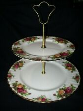 OLD COUNTRY ROSES ROYAL ALBERT 2 TIER DESSERT STAND CUPCAKE DESSERTS COOKIES TOO