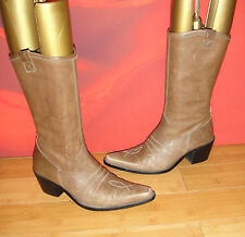 SUPERB  BROWN  LEATHER  COWBOY STYLE   BOOTS EU 36  *14*  festival boho
