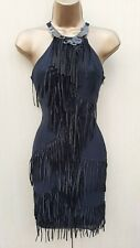 Rare 12 UK KAREN MILLEN Black Silk Art Deco Fringe Gatsby Flapper Cocktail Dress