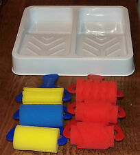 major brushes sponge paint rollers assorted patterns and double roller tray