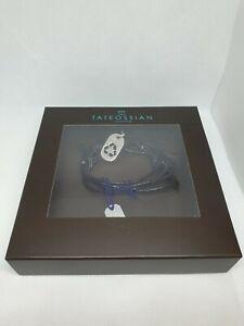 Tateossian Bracelet Recycling symbol Adjustable Black Leather Silver RRP £120