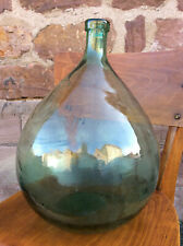 625- big Green Glass french Demijohn bottle carboy dame Jeanne