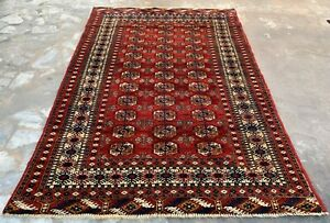 Hand knotted Vintage Pakistan Bokhara Jhaldar Wool Area Rug 6 x 4 Ft (1217 HMN)