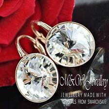 Rose Gold Pl. 925 Silver Earrings Crystals From Swarovski® 12mm RIVOLI -Crystal