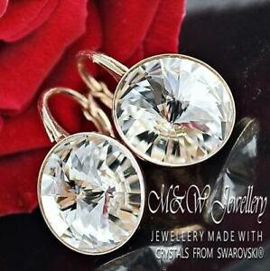 Rose Gold Pl. 925 Silver Earrings Crystals From Swarovski® 12mm RIVOLI -Crystal