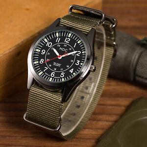 MDC Mens Quartz Military Wrist Watch Army Luminous Green Analog Nylon Sport