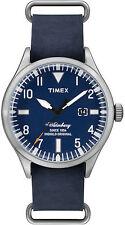 Orologio Timex TW2P64500 weekender in pelle blu Waterbury indiglo cassa acciaio