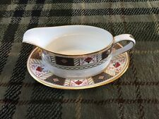Stunning Crown Derby Border Gravy Boat And Stand