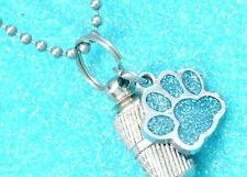 Cremation Urn Necklace with Sparkle Blue Paw Charm, Dog or Cat Ashes Holder