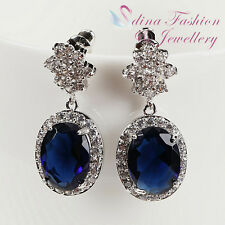18K White Gold Plated Made With Swarovski Crystal Oval Cut Dark Sapphire Earring