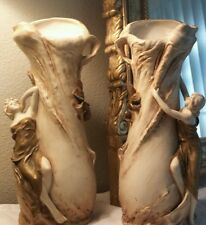 ROYAL  DUX  VASES ART NOUVEAU Maiden Beauties Authentic with signature